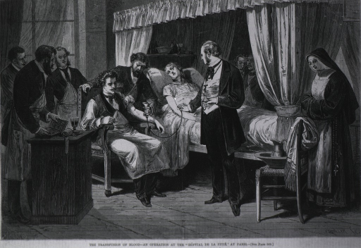 <p>The transfusion of blood - an operation at the &quot;Hopital de la Pitie&quot; performed by Dr. Betier with blood donated by Dr. Strauss.</p>