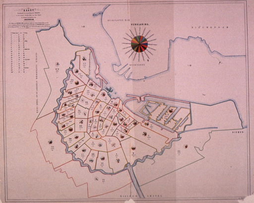 <p>Map of Amsterdam, showing spread of cholera, dated May 1866.</p>