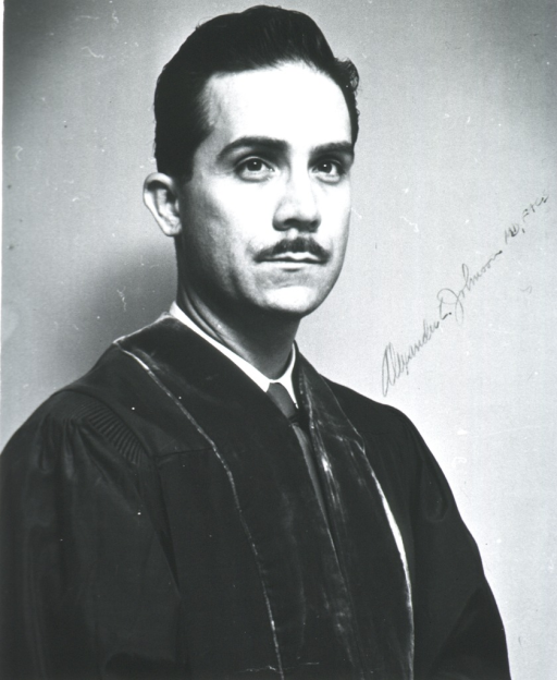 <p>Head and shoulders, right pose, full face; wearing academic robe.</p>
