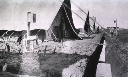 <p>A view of tents at Evacuation Commission Hospital.</p>