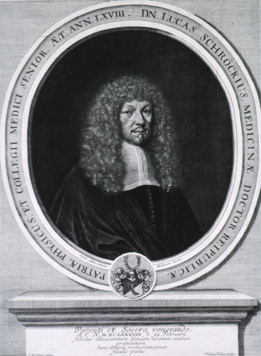 <p>Head and shoulders, right pose, long curls; in oval with inscription around border in Latin.  Coat-of-arms.</p>