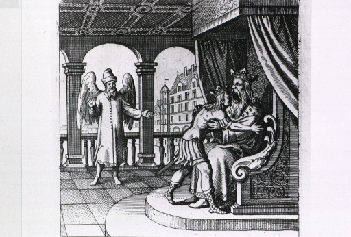 <p>The king sitting on a throne is about to devour the head of his son as a winged man observes; representation of the coming together of two spirits for creation of the Philosophers' Stone as observed by the supreme spirit of the macrocosm.</p>