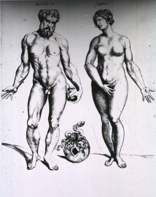 <p>Male and female figures stand side by side; between them is a skull with a snake on it; the male figure holds an apple.</p>