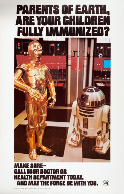 <p>White poster with black lettering and color photo image.  Image shows R2-D2 and C3PO, robotic characters from the film Star Wars, standing and surrounded by monitors and flashing equipment.  Logo for 20th Century Fox in lower right corner of poster.</p>