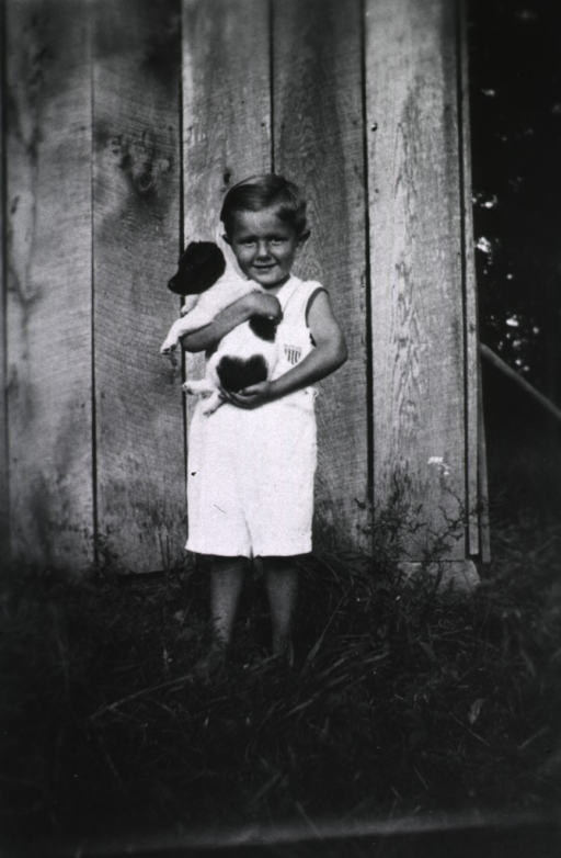 <p>Showing a little boy holding a puppy.</p>
