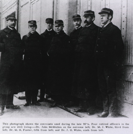 <p>A group of officers wearing the uniform overcoat used by the Public Health Service ca. 1890.</p>