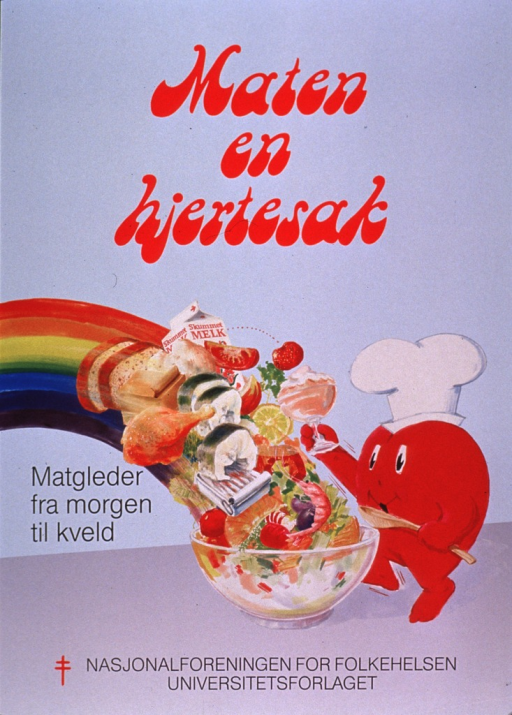 <p>Predominantly light blue poster with red and black lettering.  Title at top of poster appears to address heart-healthy food.  Visual image is an illustration of a wide variety of foods falling into a large bowl at the end of a rainbow.  A cartoon-style heart stands nearby wearing a chef's hat and holding a spoon.  Caption to left of image deals with eating well all day.  Publisher information at bottom of poster.</p>