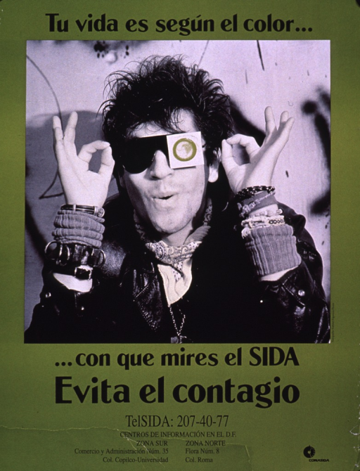 <p>Predominantly olive green poster with black lettering.  Initial title phrase at top of poster.  Visual image is a photo reproduction featuring a man putting on a pair of sun glasses.  One lens of the sunglasses is obscured by a new, olive green condom.  Remaining title text below photo.  Caption below title text urges avoiding AIDS.  Hotline number below caption.  Publisher information in lower right corner.</p>