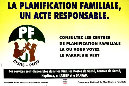 <p>Predominantly yellow poster with multicolor lettering.  Title at top of poster.  Visual image is the family planning logo, a green umbrella protecting a three-member family.  Caption to right of logo directs readers to seek family planning anywhere they see the logo.  Additional text near bottom of poster lists places where family planning services are available.  Publisher and sponsor information at bottom of poster.</p>