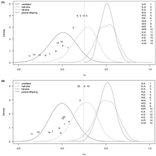 Pairwise relatedness of Yakutian cryo-bank bulls. Values are calculated using (A) rW and (B) rQG relatedness estimators plotted on a distribution of four simulated relationship categories: unrelated, half-sibs, full-sibs and parent-offspring; the vertical line represents the 95th percentile for simulated unrelated individuals; the position of pairwise values in regards to the Y-axis was designed based on the estimates from the rK relatedness estimator and was calculated as 3 divided by the cases when the log likelihood of R for the second closest relationship is smaller than the most likely relationship; abbreviations for Yakutian cryo-bank bulls are: K-Keskil, M-Moxsogol, R-Radzu, E-Erel, S-Sarial, A-Alii. Y-axis denotes the distribution of posterior probability density based on the simulations of the four relationship categories using the two relatedness estimators rW and rQG, respectively.