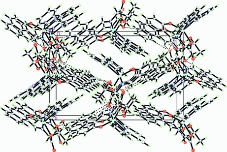Packing diagram of the title compound with hydrogen bonds shown as dashed lines.