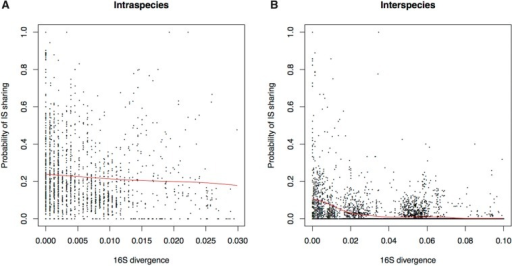 A plot of the probability of two genomes sharing an IS copy compared to their 16S distance, for: (A) intraspecies and (B) interspecies pairs. An average using a Nadaraya–Watson kernel smoother with a bandwidth of 1% is shown in red. Note that at all 16S sequence distances the intraspecies value remains at least 2-fold higher than interspecies.