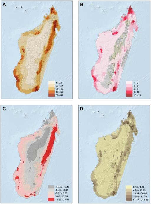 Spatial patterns for all reptile species included in this assessment.A) species richness; B) richness of threatened species; C) residuals of the relationship between threatened species and total number of species (positive values were mapped in red, indicating cells that have more threatened species than expected for their richness alone, and equal or negative values in gray, indicating cells that have the same or fewer threatened species as/than expected for richness alone); D) richness of range-size rarity.