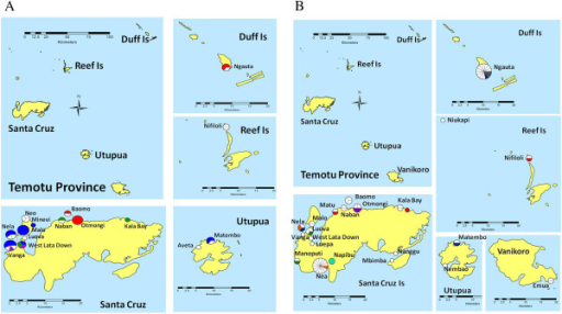 Spatial distributions of Plasmodium falciparum (A) and Plasmodium vivax (B) haplotypes in Temotu Province. A map of the Temotu Province is shown in the upper left panel while enlarged maps of particular islands are shown in the right and lower panel. Villages where parasites were genotyped are marked on the map. The type and frequency of haplotypes at each village are represented by a pie chart. The size of the pie chart is proportional to the number of parasites typed. White portions within pies indicate unique haplotypes observed once, while coloured portions indicate haplotypes observed more than once. Identical haplotypes are represented by the same colour. In Figure 4A, dominant P. falciparum haplotypes PfH3, PfH4, PfH6 and PfH11 are represented by blue, red, green and purple, respectively.