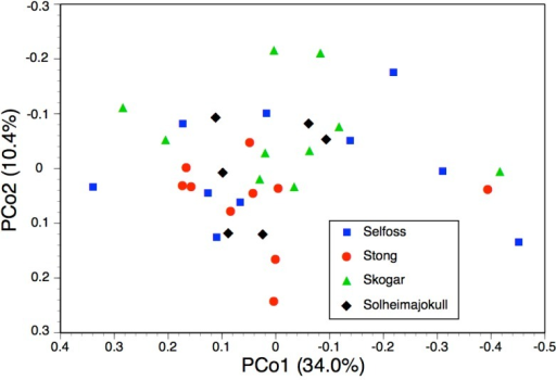 Bivariate scatter-diagram of the first two principal coordinates, derived from 28 morphometric characters measured for individual plants sampled in five Icelandic populations of Platanthera hyperborea.Parenthetic figures indicate the percentage of the total variance accounted for by each axis.