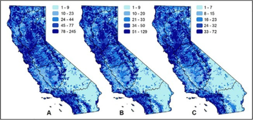 Patterns of richness by data type of California freshwater species.Maps show the number of native freshwater species when summarized by: (A) observational data recorded after 1980; (B) observational data recorded before 1980 or observations of extirpated populations; and (C) data that includes range maps, historical range maps, modeled habitat, professional judgment, critical habitat designations, and management area designations. Spatial data with an unknown observation date or unknown type are not included in any panel. The black lines on the maps represent the major hydrologic regions in the study area.