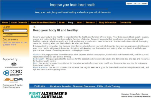 "Screenshot of the Brain-Heart Health Program ""Keep your body fit and healthy"" page."