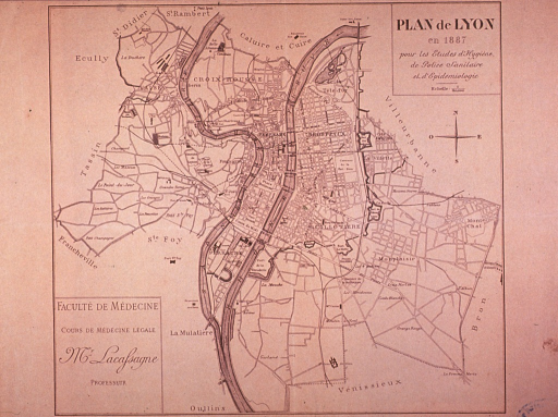 <p>Map for the city of Lyon in 1887.</p>