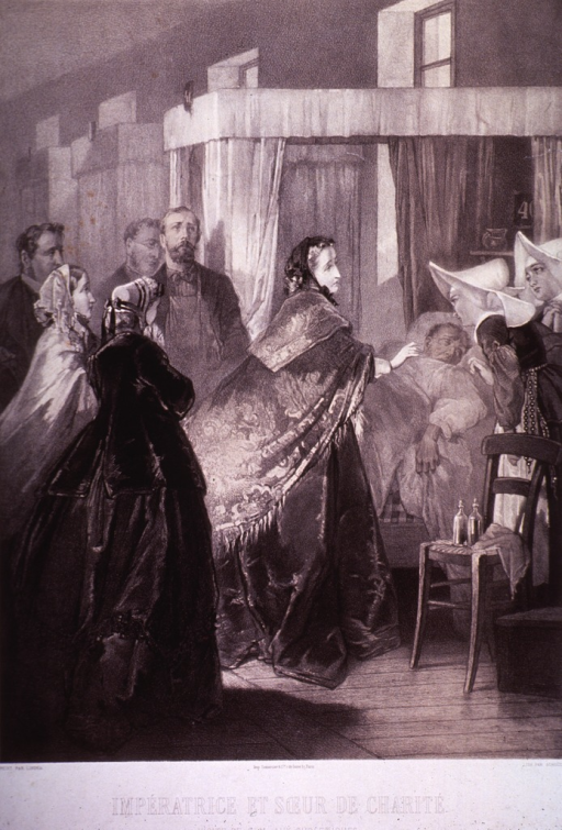 <p>Hospital scene with Empress Eugenie at the bedside of a patient.</p>