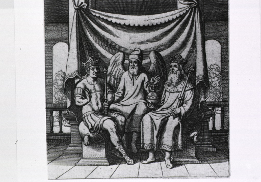 <p>The king holding a scepter in one hand and a sphere with cross in the other, and his son, also holding a scepter, sit on either side of winged man; representation of ultimate harmony.</p>