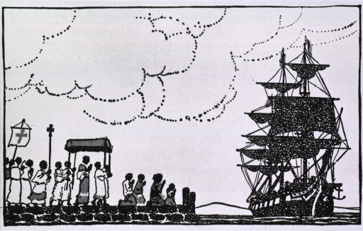 <p>A religious procession waits on a wharf, ready to welcome a ship coming into port.</p>