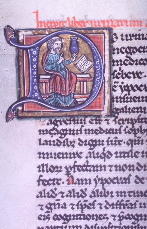 <p>With left hand, tonsured master holds aloft and examines container of urine.  Master gestures with right hand.  Master is  beside a table on which an open book rests.</p>