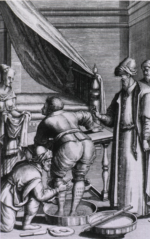 <p>Interior scene: a man is making incisions with a lancet on the backs of the legs of a man standing in a tub of water; a woman stands to the left with a towel; other instruments and another tub are on the floor; the physician(?) stands to the right.</p>