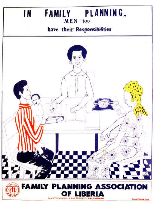 <p>White poster with blue and red lettering.  Title at top of poster.  Visual image is an illustration of a man and woman consulting a woman who sits at a desk, presumably a health worker.  The man holds a baby.  Publisher logo and information, plus note, at bottom of poster.</p>
