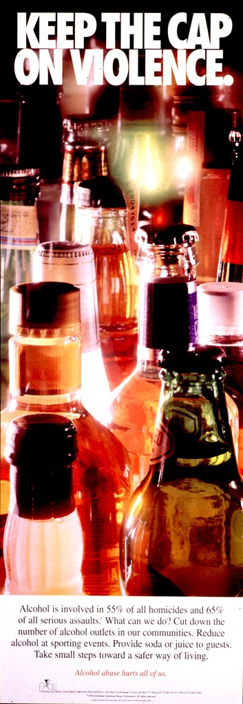 <p>Multicolor poster with black and orange lettering.  Title at top of poster.  Title is superimposed on a color photo reproduction showing the tops of several liquor and beer bottles.  Caption below photo urges reducing the amount of alcohol available in communities and at events.  Note below caption.  Publisher information at bottom of poster.</p>