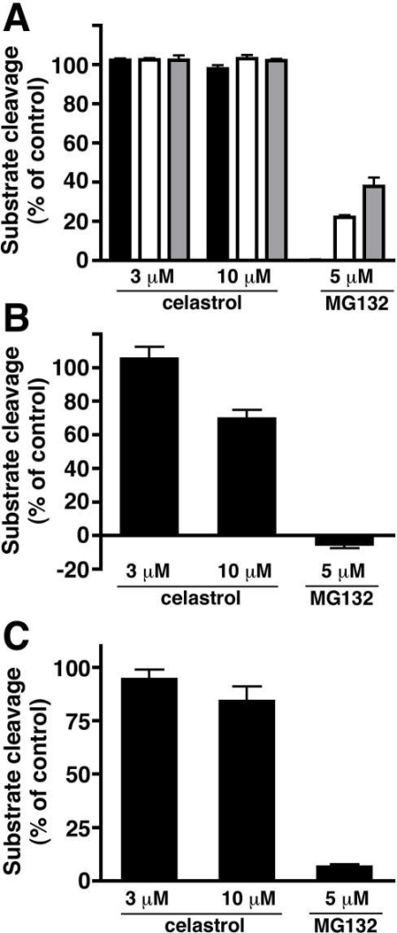 Celastrol is not a potent inhibitor of the proteasome in vitro.(A) The chymotrypsin-like (black bars), caspase-like (white bars), and trypsin-like (grey bars) activities of purified 26S proteasome were assessed in the presence or absence of celastrol or MG132. (B) The chymotrypsin-like activity of purified 20S proteasome was assessed in the presence or absence of celastrol or MG132. (C) The chymotrypsin-like activity of the proteasome in RAW264.7 cell lysate was assessed in the presence or absence of celastrol or MG132. Values represent the means of three experiments±SEM.