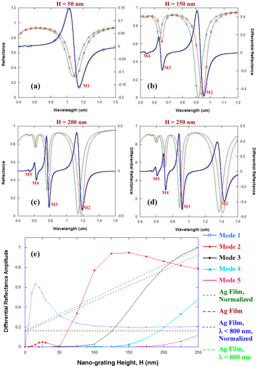(a-d) RCWA calculations showing reflectance curves (differential reflectance in blue, reflectance curves with localized refractive index around the grating n = 1.33 in green and with n = 1.53 in red) for a narrow groove silver nano-grating - with 100 nm periodicity and 7 nm groove width - for a 1 nm binding of target (refractive index = 1.53) on the surface of the metallic film. The effect of nano-grating height 'H' on the reflection spectra is shown for the following values of 'H': (a) 50 nm, (b) 150 nm, (c) 200 nm, (d) 250 nm. (e) The effect of nano-grating height 'H' on the amplitude of the differential reflectance (peak maxima – peak minima) for different plasmon modes coupling into the narrow groove silver nano-gratings. The dashed red line provides the maximum value of the amplitude of differential reflectance for a planar silver film evaluated using the Kretschmann configuration and wavelength interrogation, while the dashed light green line provides the maximum value of the amplitude of differential reflectance for a planar silver film evaluated using the Kretschmann configuration when the interrogation wavelength is less than 800 nm. The dashed dark green line provides the maximum value of the amplitude of differential reflectance for a planar silver film - evaluated using Kretschmann configuration and employing wavelength interrogation - that is normalized such that the planar silver film would have the equivalent surface area as would be present in silver nano-gratings of height 'H', while the dashed blue line provides the normalized value of the maximum amplitude of differential reflectance when the wavelength of interrogation is less than 800 nm.