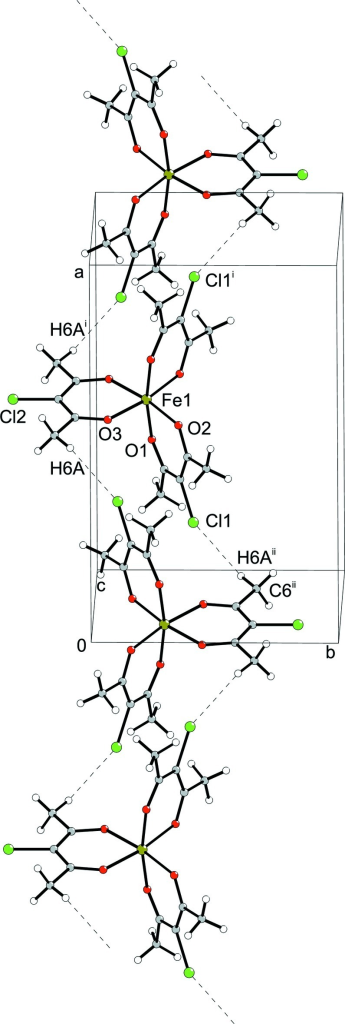1D infinte chain with dashed lines indicating intermolecular C6—H6A···Cl1 hydrogen bonding. For the sake of clarity, H atoms not involved in the motif shown have been omitted. Symmetry code: ii = –x + 1/2, –y + 1/2, –z + 1.