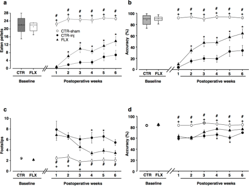 Fluoxetine induces recovery of motor functions after SCI.(a, b) Staircase. After SCI, all rats lost grasping ability. Starting from the 2nd week, FLX rats began to retrieve significantly more pellets and showed a greater accuracy than CTR-inj. (c, d) Horizontal ladder. After SCI, the number of footslips was significantly increased in all groups. Starting from the 4th week, FLX rats showed a better performance than CTR-inj. The performance of CTR-sham rats did not change throughout the testing period. Box-whisker plot: the horizontal lines in the box denote the 25th, 50th (median), and 75th percentile values; the small square inside the box represents the mean; error bars denote the 5th and 95th percentile values. X represents max and min values. Curves: error bars represent SEM. Symbols indicate statistical difference.
