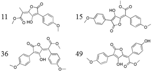 Four active pulvinic acid derivatives (IDs: 11, 15, 36, 49 [6]), selected for the construction of the pharmacophore model.