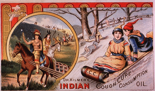 <p>Dr. Kilmer's,  &quot;The people's favorite.&quot;  Visual motif:  Showing Indians on horseback and people sledding.</p>