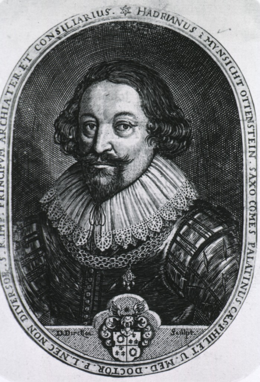 <p>Half length, wearing lace coller-chain, coat-of-arms, pointed beard; in oval.</p>