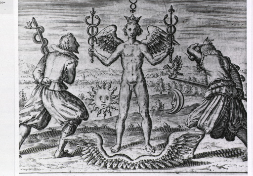 <p>A winged man wearing a crown and holding two caducei is approached from either side by a man, one holding a sword with single serpent (i.e. staff of Aesculapius) and the other, a sword with a cock (symbol associated with Aesculapius).</p>