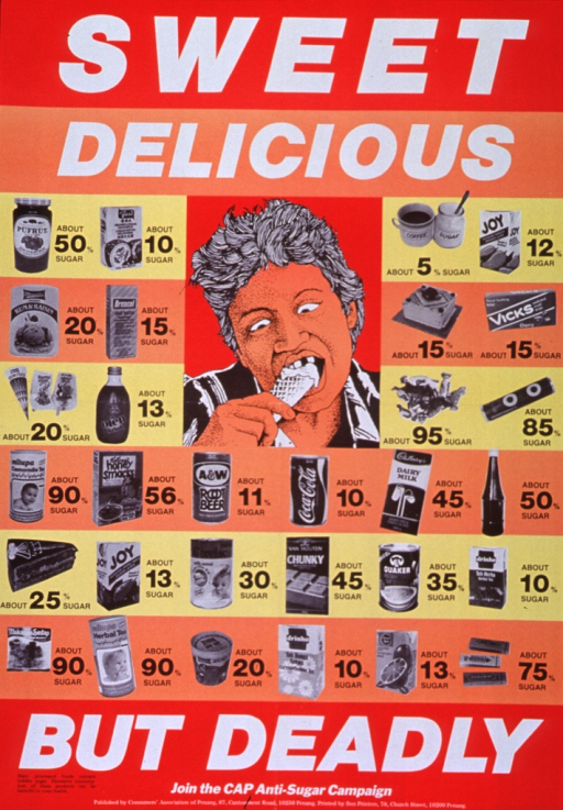 <p>Multicolor poster with black and white lettering.  Initial title phrase at top of poster.  Visual images are an illustration of a man eating an ice cream cone and black and white photo reproductions of many processed foods.  An estimation of the sugar content appears next to each food.  Remaining title phrase, note, and publisher information at bottom of poster.</p>