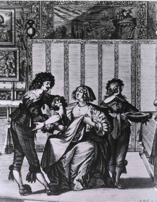 <p>A woman sitting in a chair is having her arm prepared for minor surgery; a physician is applying a tourniquet, an assistant stands ready with a basin. The woman holds a cloth over her lap to protect her clothing.</p>