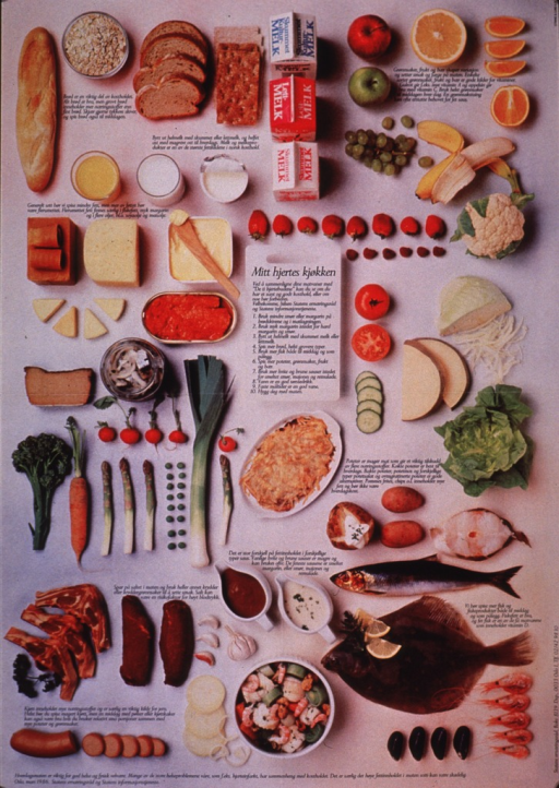 <p>Multicolor poster with black lettering.  Poster dominated by color photo reproductions of many kinds of food.  Short captions accompany the photos and appear to address the impact of the foods on health, especially with regard to fat and salt.  Title in center of poster, along with a list of 10 steps to improve one's diet.  Publisher information at bottom of poster.</p>