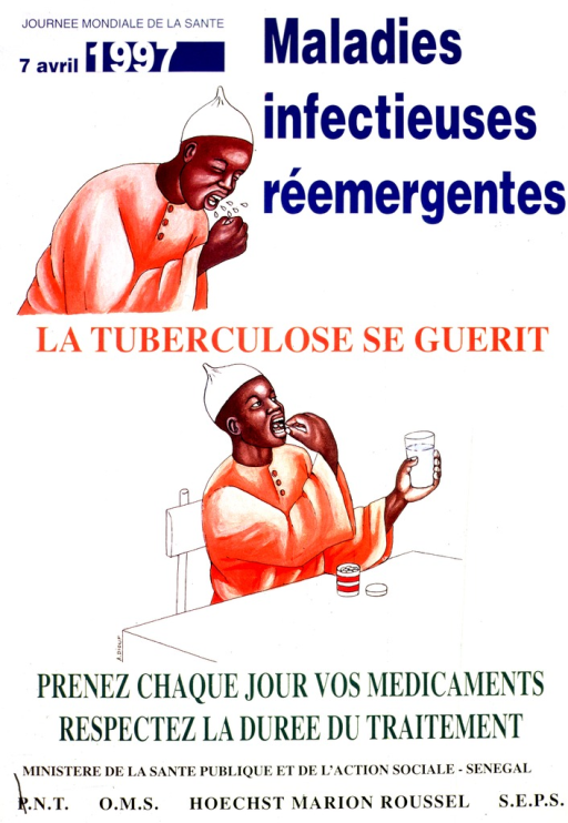 <p>White poster with multicolor lettering.  Title at top of poster.  Visual image consists of illustrations of a man coughing, with spittle flying into the air, and the man taking medication.  Caption between and below illustrations.  Caption reminds reader that tuberculosis can be cured, to take medications daily, and run the full course of treatment.  Publisher and sponsor information at bottom of poster.</p>