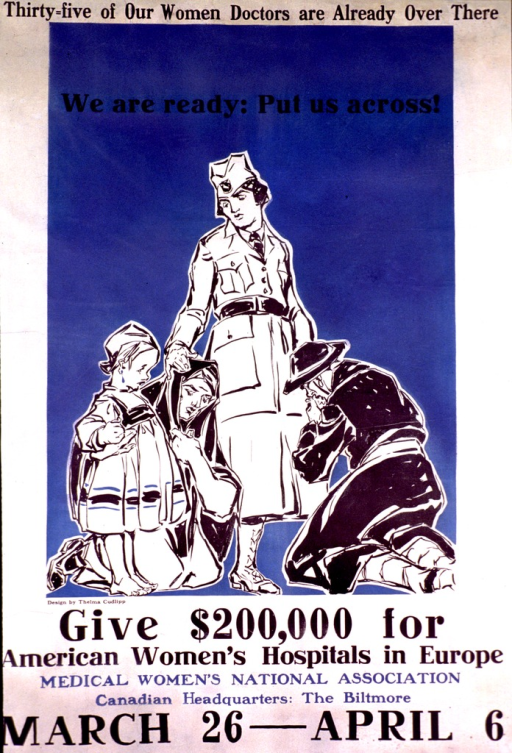 <p>White poster with the print in black and a medium shade of blue. Most of the poster consists of a black and white sketched scene of a female doctor standing with her right hand on the head of a kneeling woman, possibly a nun, who has a barefoot child standing next to her. A woman dressed in black is kneeling at the doctor's side and kissing the her left hand. The background of the scene is a medium shade of blue.</p>