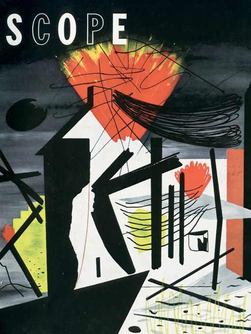 <p>Magazine cover of Scope designed by graphic designer Lester Beall, who designed Scope in the 1940's for seven years. Abstract design of various shapes and symbols utilizing the colors, red, black, white, yellow, and gray.</p>
