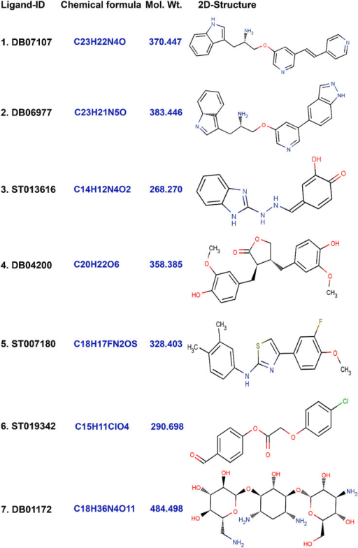 2-D Structures of the finally selected seven lead molecules have been shown in the figure.(1) DB07107, (2) DB06977, (3) ST013616, (4) DB04200, (5) ST007180, (6) ST019342, and (7) DB01172.
