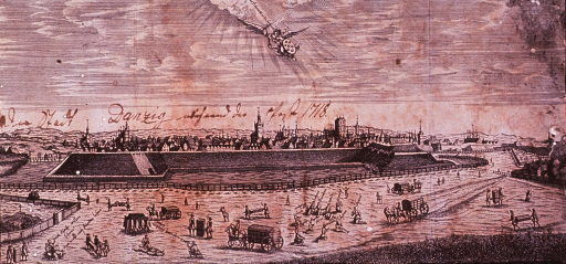 <p>View of Danzig from across the river showing many people praying and the removal of the victims of the plague in the foreground. Note that all the people transporting the dead bodies are smoking.</p>
