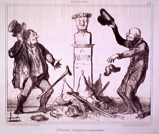 <p>Exterior view: two old men throw a cane and a toupee at the base of a bust of Flourens. There is already a pile of canes, ear trumpets, toupees, spectacles, etc.</p>