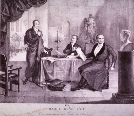 <p>Commission des Medecins Francʹais in Barcelona in 1821.  Portrayed from left to right, in the seminary hospital, are Jouarii, Andre Francʹois, Victor Bally, a statue of Aesculapius, Etienne Pariset, and a bust of Andre Mazet.</p>