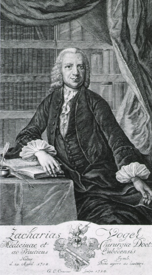 <p>Seated figure, one hand on open book; other on knee.  Book cases and curtain in background.  Coat-of-arms.</p>