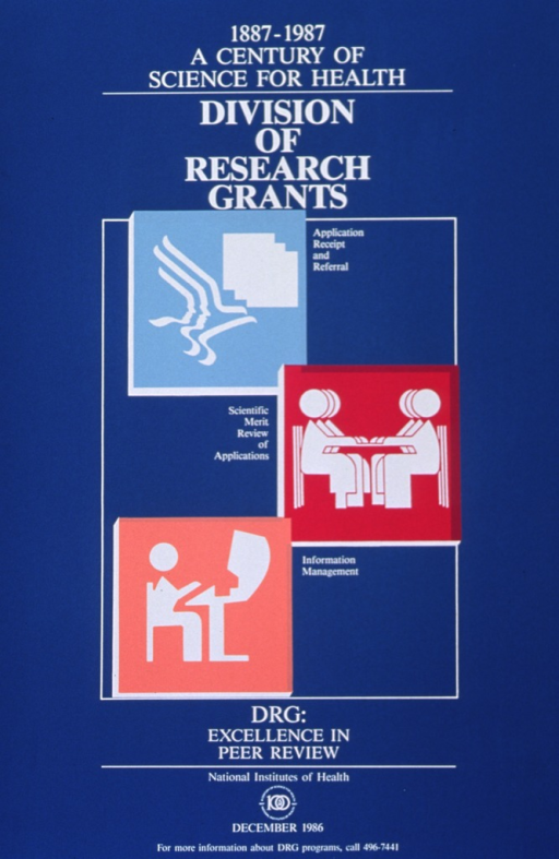<p>Aqua poster with white lettering.  Three images symbolizing the work at the Division dominate poster.  Images resemble cut-outs.  First is light blue against white, with a face morphing into an eagle; second is magenta against white, with several people seated around a table; third is peach against white, with person seated at a computer terminal.  Logo for NIH Centennial appears at bottom of poster, along with date and phone number for more information.</p>
