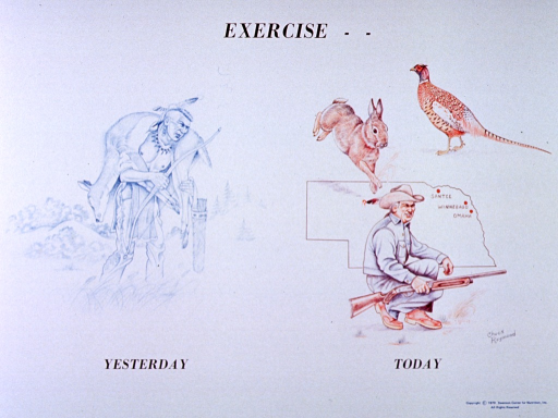 <p>White poster with black lettering.  Initial title word at top of poster.  Visual images are two reproductions of hand drawings.  Drawing on the left depicts a man carrying a deer across his shoulders, with bow and quiver of arrows in his hands.  The man wears historical American Indian dress.  Drawing on the right features a man crouching and holding a rifle.  A map of Nebraska, a rabbit, and a pheasant appear in the background.  Artist's signature is near man's feet.  Remaining title words below images.</p>